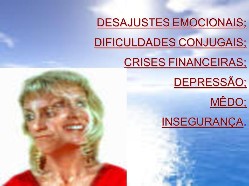 DESAJUSTES EMOCIONAIS; DIFICULDADES CONJUGAIS; CRISES FINANCEIRAS; DEPRESSÃO;MÊDO; INSEGURANÇA.