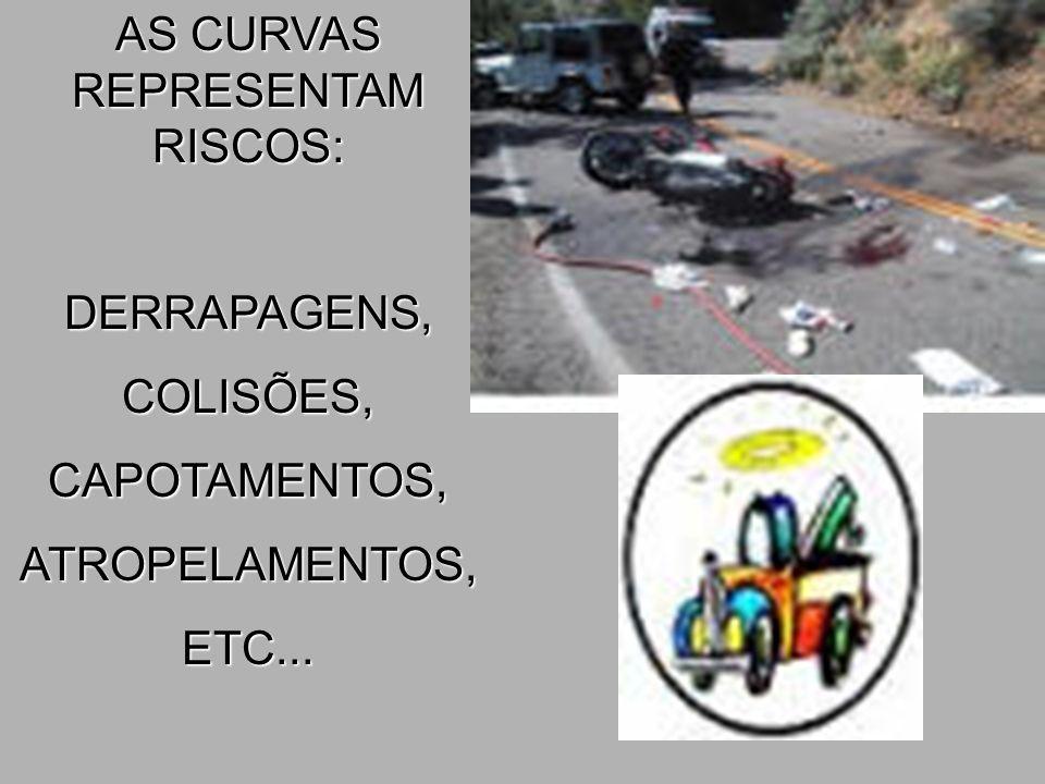 AS CURVAS REPRESENTAM RISCOS: DERRAPAGENS,COLISÕES,CAPOTAMENTOS,ATROPELAMENTOS,ETC...