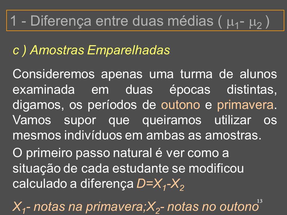 13 1 - Diferença entre duas médias ( 1 - 2 ) c ) Amostras Emparelhadas Consideremos apenas uma turma de alunos examinada em duas épocas distintas, dig