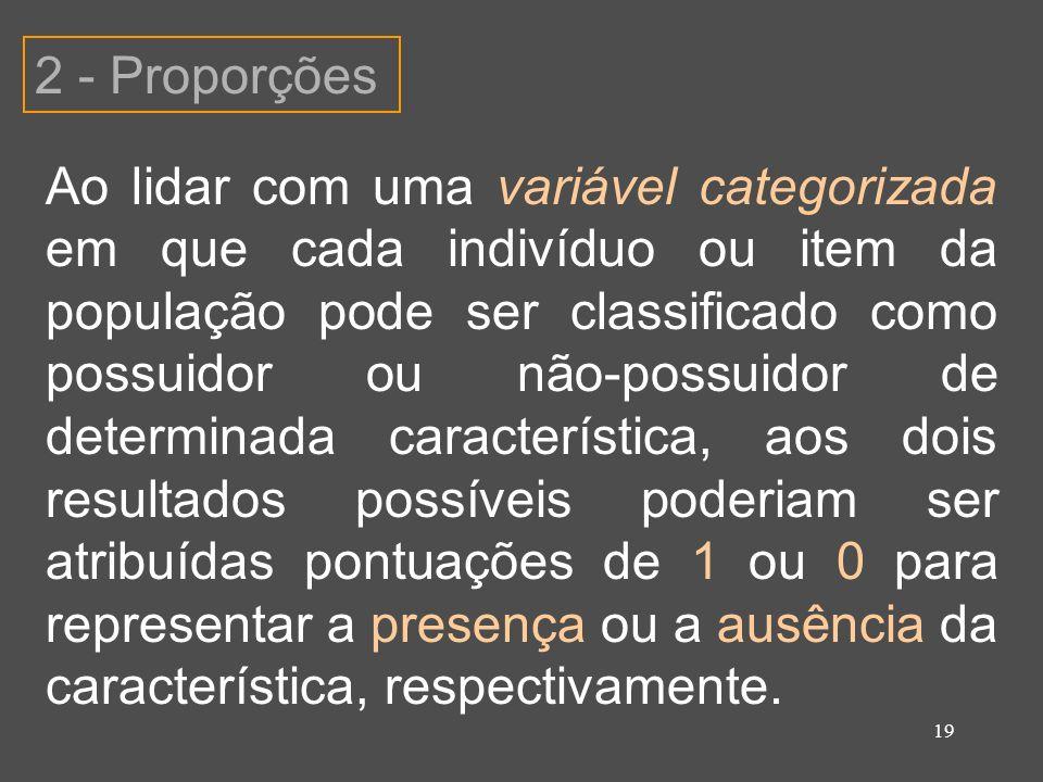 19 2 - Proporções Ao lidar com uma variável categorizada em que cada indivíduo ou item da população pode ser classificado como possuidor ou não-possui