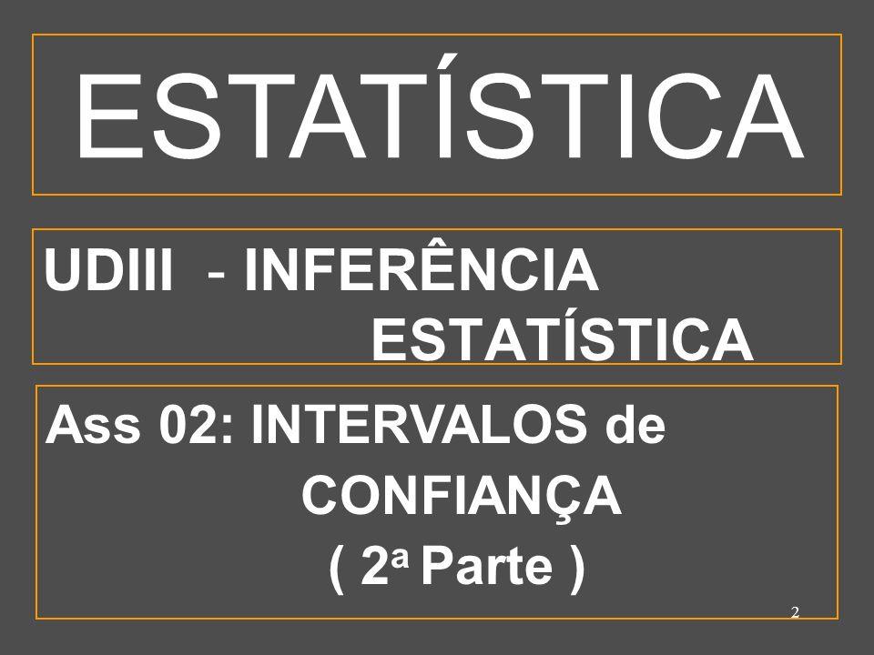 2 UDIII - INFERÊNCIA ESTATÍSTICA Ass 02: INTERVALOS de CONFIANÇA ( 2 a Parte ) ESTATÍSTICA