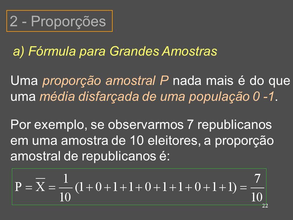 22 2 - Proporções a) Fórmula para Grandes Amostras Uma proporção amostral P nada mais é do que uma média disfarçada de uma população 0 -1. Por exemplo