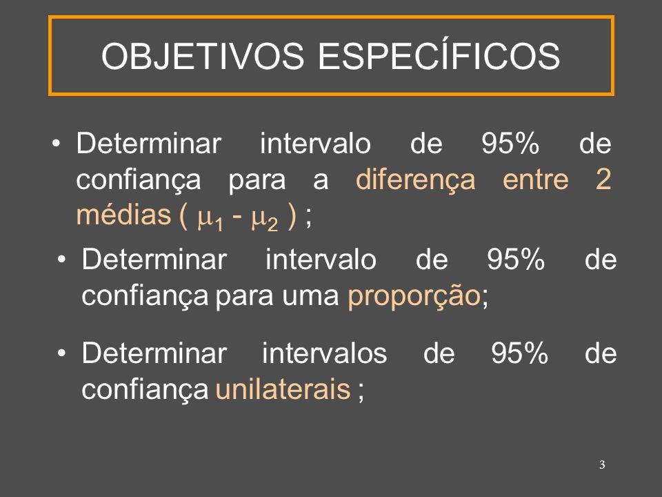 3 OBJETIVOS ESPECÍFICOS Determinar intervalo de 95% de confiança para a diferença entre 2 médias ( 1 - 2 ) ; Determinar intervalo de 95% de confiança para uma proporção; Determinar intervalos de 95% de confiança unilaterais ;