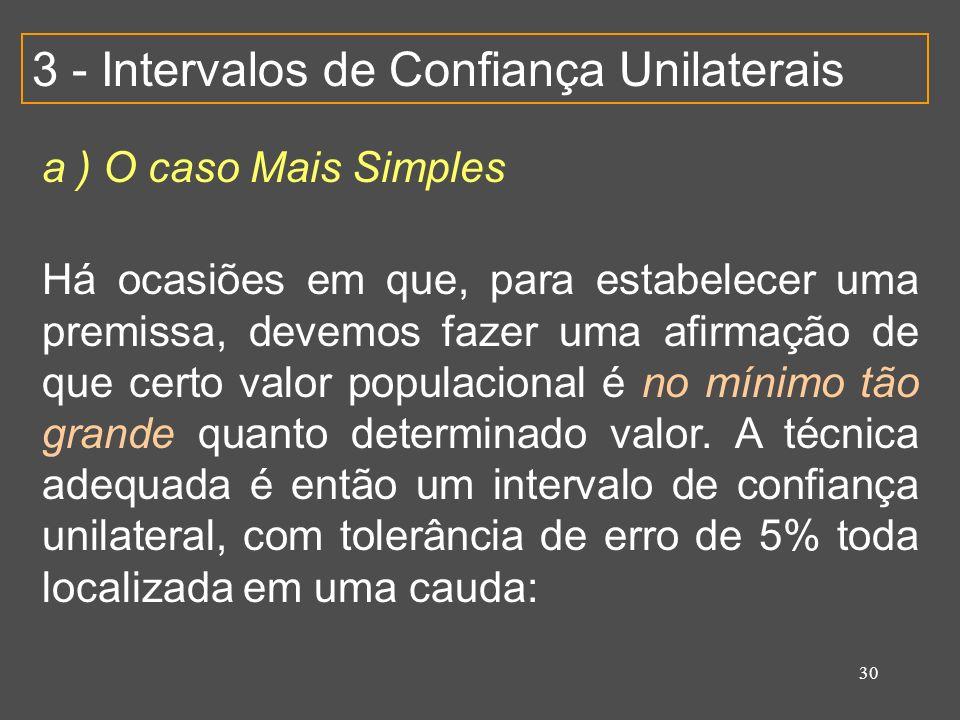 30 3 - Intervalos de Confiança Unilaterais a ) O caso Mais Simples Há ocasiões em que, para estabelecer uma premissa, devemos fazer uma afirmação de que certo valor populacional é no mínimo tão grande quanto determinado valor.