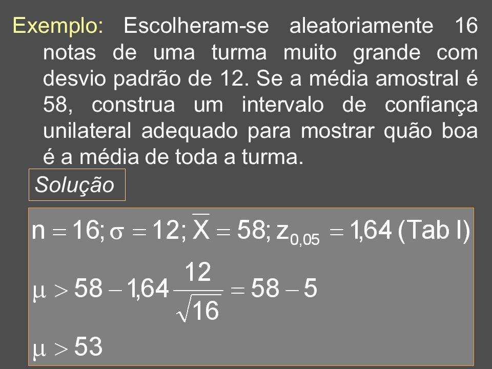 32 Exemplo: Escolheram-se aleatoriamente 16 notas de uma turma muito grande com desvio padrão de 12. Se a média amostral é 58, construa um intervalo d