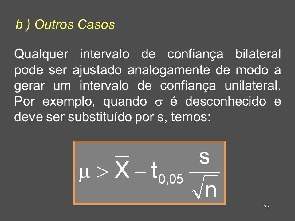 35 b ) Outros Casos Qualquer intervalo de confiança bilateral pode ser ajustado analogamente de modo a gerar um intervalo de confiança unilateral. Por