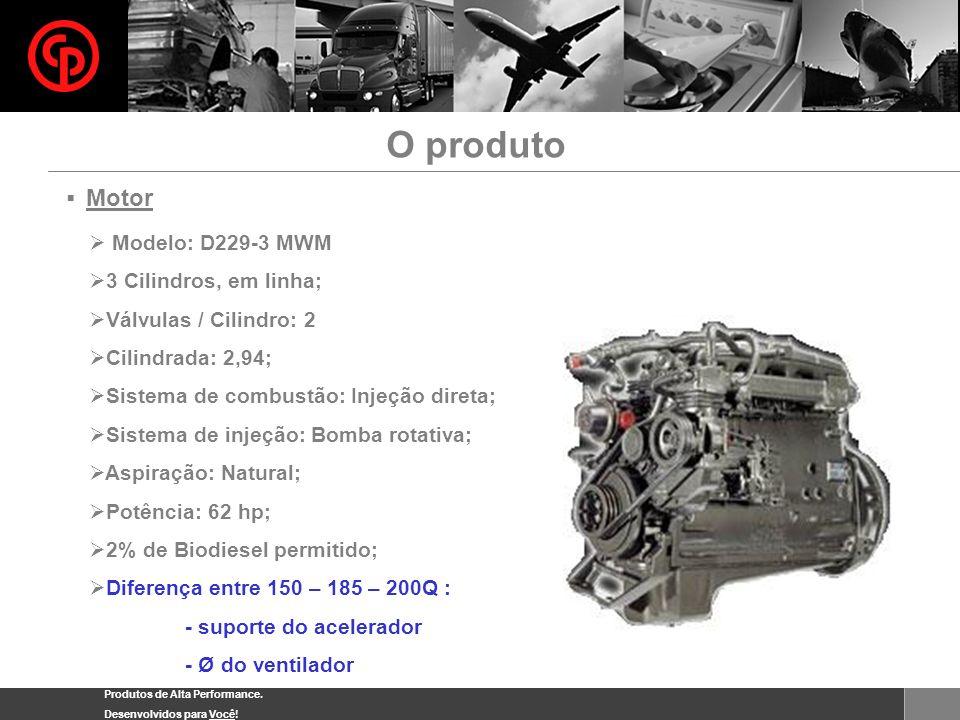 Produtos de Alta Performance. Desenvolvidos para Você! Motor Modelo: D229-3 MWM 3 Cilindros, em linha; Válvulas / Cilindro: 2 Cilindrada: 2,94; Sistem
