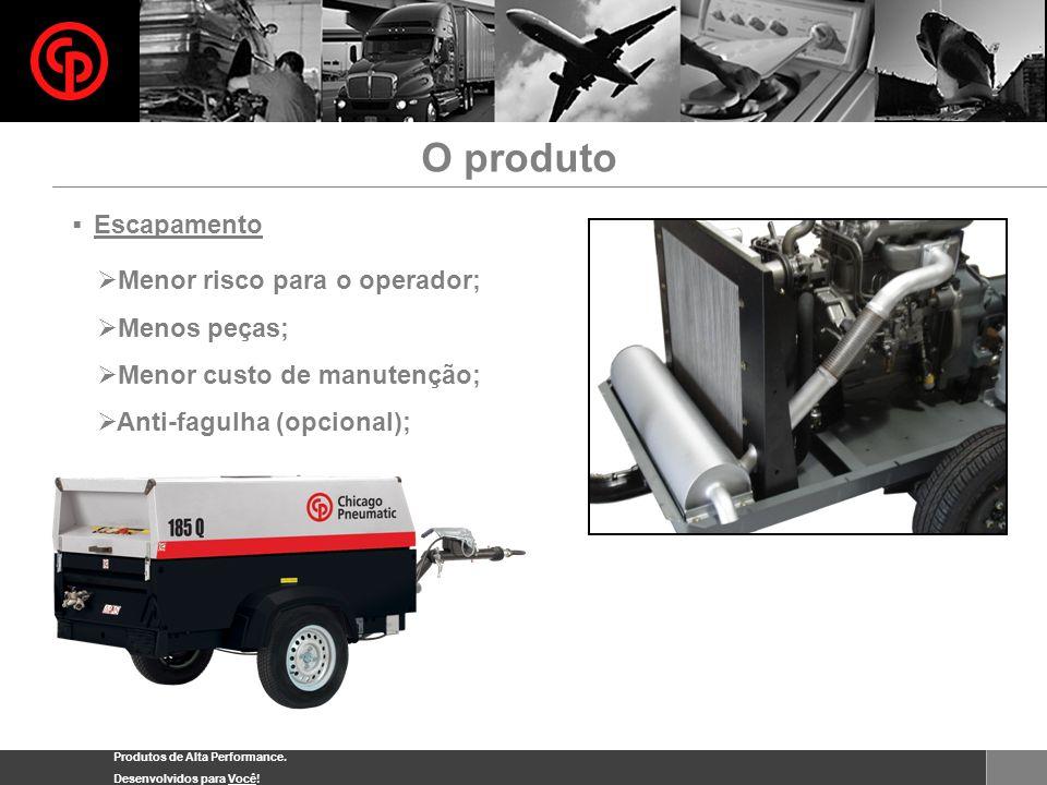 Produtos de Alta Performance. Desenvolvidos para Você! Escapamento Menor risco para o operador; Menos peças; Menor custo de manutenção; Anti-fagulha (