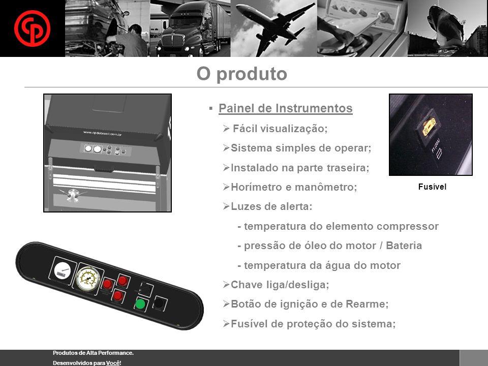 Produtos de Alta Performance. Desenvolvidos para Você! Painel de Instrumentos Fácil visualização; Sistema simples de operar; Instalado na parte trasei