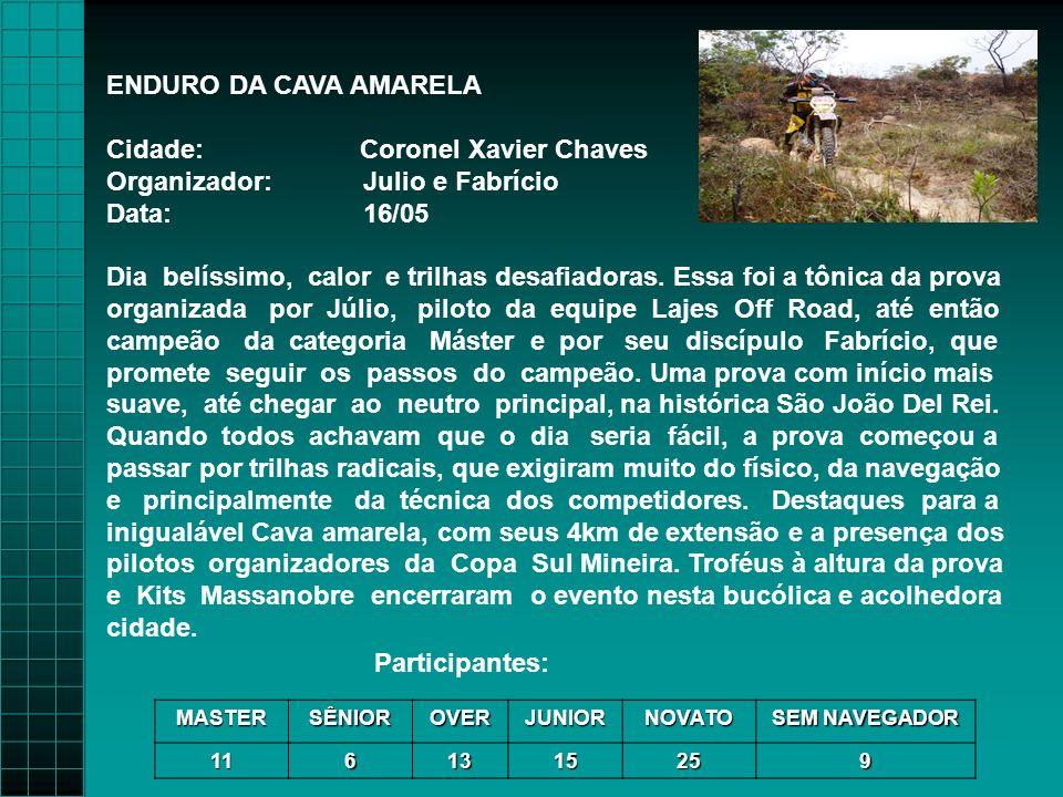ENDURO DA CAVA AMARELA Cidade: Coronel Xavier Chaves Organizador: Julio e Fabrício Data: 16/05 Dia belíssimo, calor e trilhas desafiadoras.