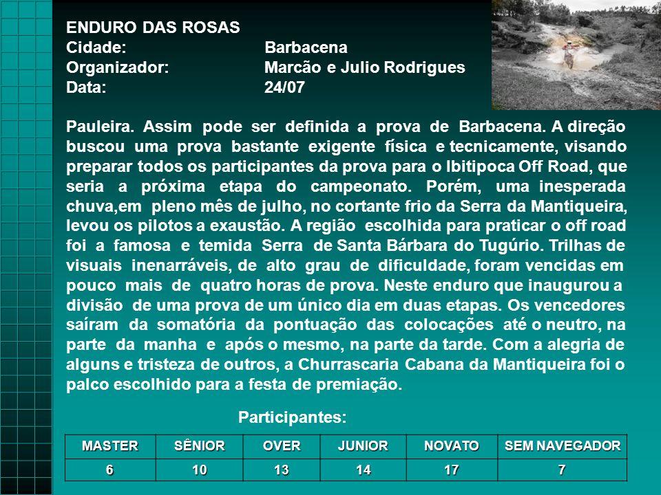 ENDURO DAS ROSAS Cidade:Barbacena Organizador:Marcão e Julio Rodrigues Data:24/07 Pauleira.