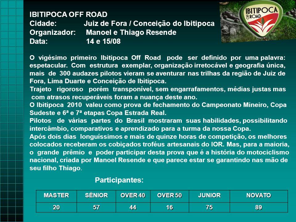 IBITIPOCA OFF ROAD Cidade: Juiz de Fora / Conceição do Ibitipoca Organizador: Manoel e Thiago Resende Data: 14 e 15/08 O vigésimo primeiro Ibitipoca Off Road pode ser definido por uma palavra: espetacular.