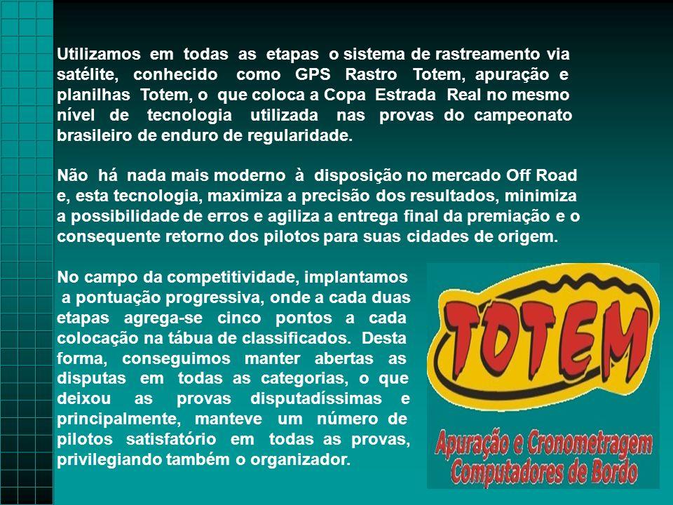 Utilizamos em todas as etapas o sistema de rastreamento via satélite, conhecido como GPS Rastro Totem, apuração e planilhas Totem, o que coloca a Copa Estrada Real no mesmo nível de tecnologia utilizada nas provas do campeonato brasileiro de enduro de regularidade.