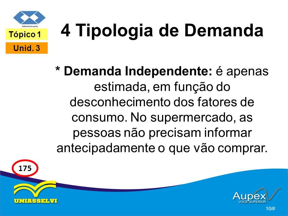 4 Tipologia de Demanda * Demanda Independente: é apenas estimada, em função do desconhecimento dos fatores de consumo. No supermercado, as pessoas não