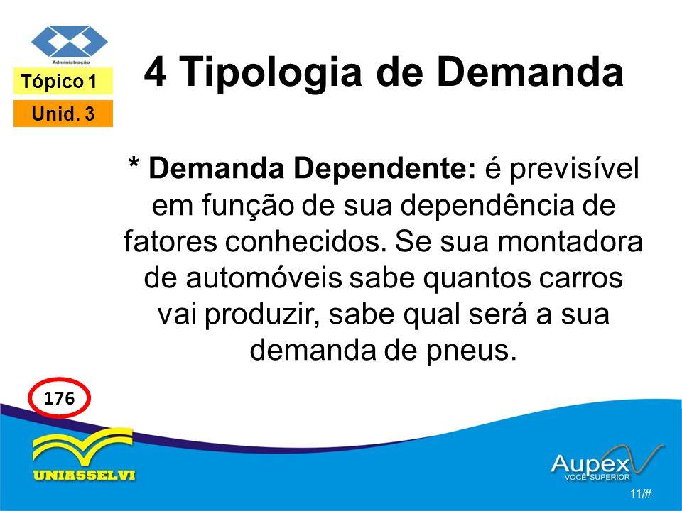 4 Tipologia de Demanda * Demanda Dependente: é previsível em função de sua dependência de fatores conhecidos. Se sua montadora de automóveis sabe quan