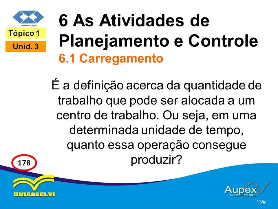 6 As Atividades de Planejamento e Controle 6.1 Carregamento É a definição acerca da quantidade de trabalho que pode ser alocada a um centro de trabalh