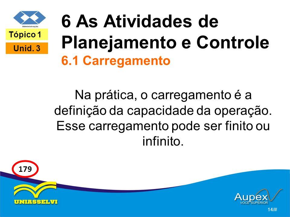 6 As Atividades de Planejamento e Controle 6.1 Carregamento Na prática, o carregamento é a definição da capacidade da operação. Esse carregamento pode