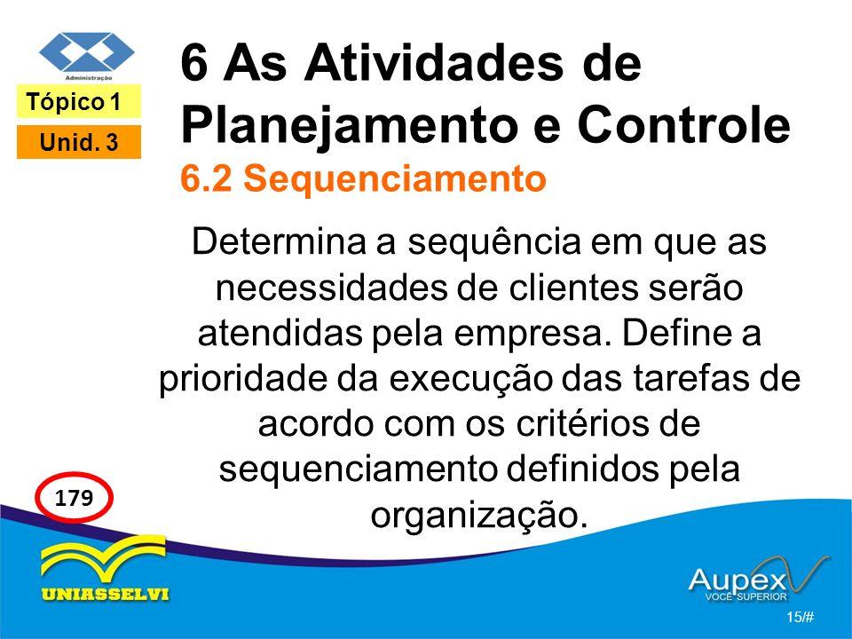 6 As Atividades de Planejamento e Controle 6.2 Sequenciamento Determina a sequência em que as necessidades de clientes serão atendidas pela empresa.