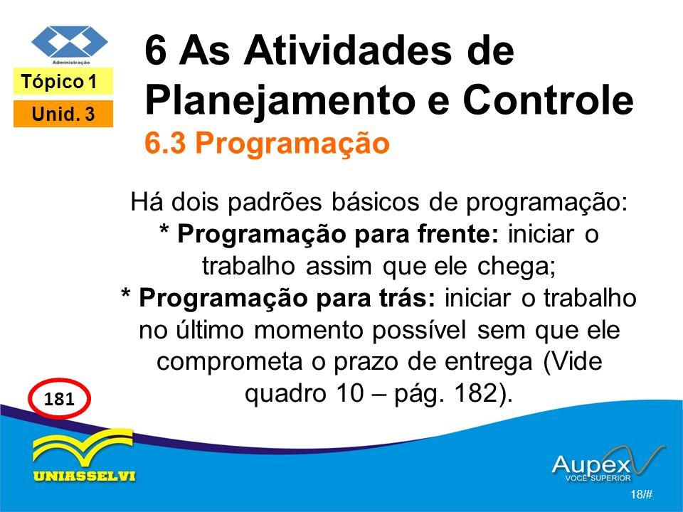 6 As Atividades de Planejamento e Controle 6.3 Programação Há dois padrões básicos de programação: * Programação para frente: iniciar o trabalho assim