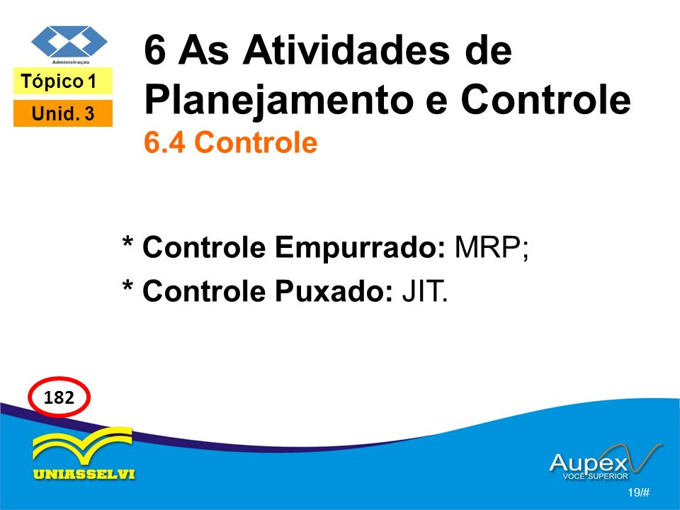 6 As Atividades de Planejamento e Controle 6.4 Controle * Controle Empurrado: MRP; * Controle Puxado: JIT. 19/# Tópico 1 Unid. 3 182