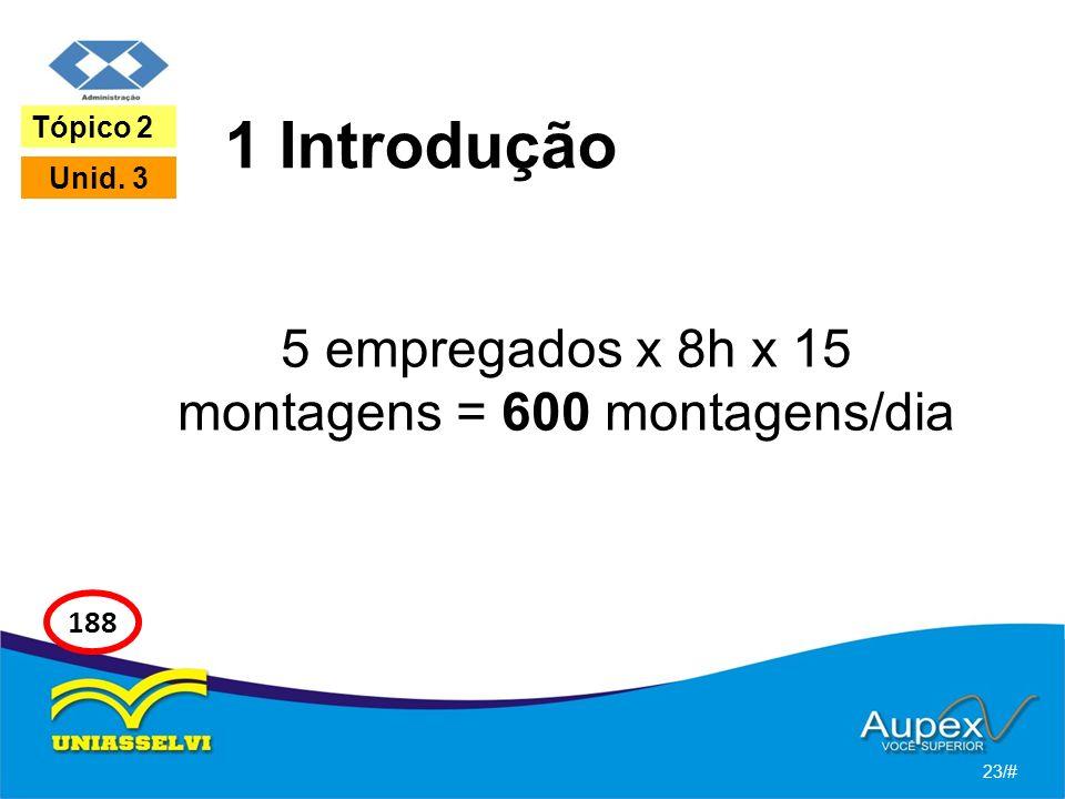 1 Introdução 5 empregados x 8h x 15 montagens = 600 montagens/dia 23/# Tópico 2 Unid. 3 188