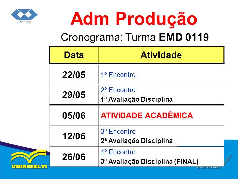 Cronograma: Turma EMD 0119 Adm Produção DataAtividade 29/05 2º Encontro 1ª Avaliação Disciplina 22/05 1º Encontro 12/06 3º Encontro 2ª Avaliação Disci