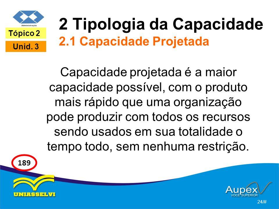 2 Tipologia da Capacidade 2.1 Capacidade Projetada Capacidade projetada é a maior capacidade possível, com o produto mais rápido que uma organização pode produzir com todos os recursos sendo usados em sua totalidade o tempo todo, sem nenhuma restrição.