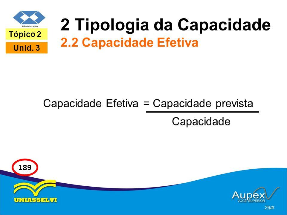 2 Tipologia da Capacidade 2.2 Capacidade Efetiva Capacidade Efetiva = Capacidade prevista 26/# Tópico 2 Unid. 3 189 Capacidade