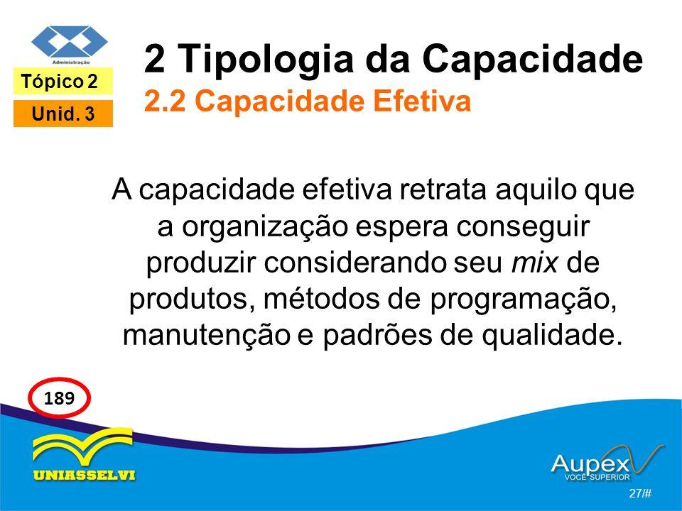 2 Tipologia da Capacidade 2.2 Capacidade Efetiva A capacidade efetiva retrata aquilo que a organização espera conseguir produzir considerando seu mix de produtos, métodos de programação, manutenção e padrões de qualidade.