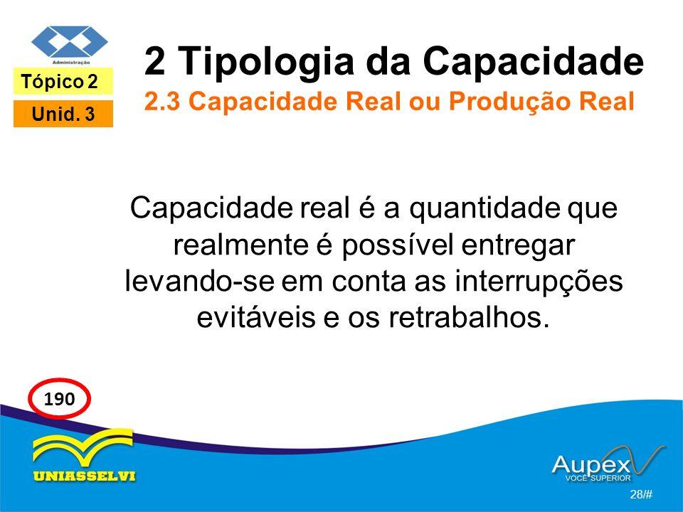 2 Tipologia da Capacidade 2.3 Capacidade Real ou Produção Real Capacidade real é a quantidade que realmente é possível entregar levando-se em conta as interrupções evitáveis e os retrabalhos.
