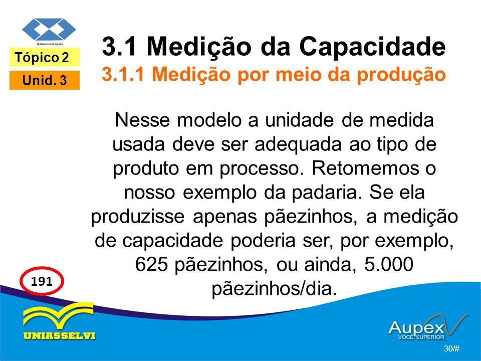3.1 Medição da Capacidade 3.1.1 Medição por meio da produção Nesse modelo a unidade de medida usada deve ser adequada ao tipo de produto em processo.