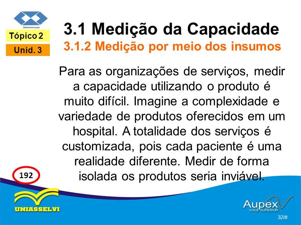 3.1 Medição da Capacidade 3.1.2 Medição por meio dos insumos Para as organizações de serviços, medir a capacidade utilizando o produto é muito difícil.