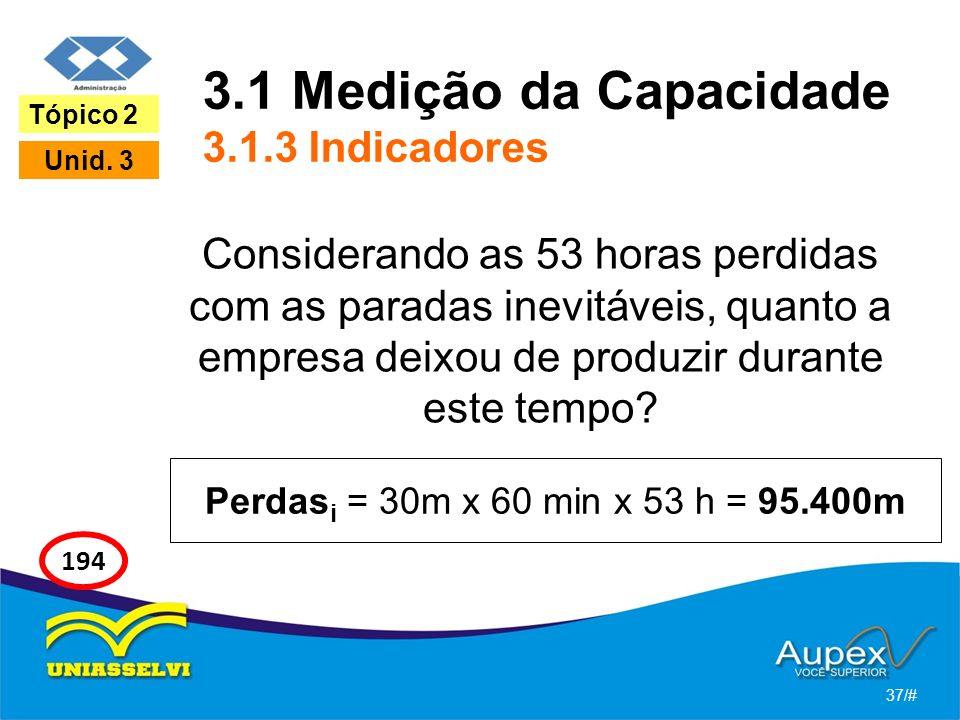 3.1 Medição da Capacidade 3.1.3 Indicadores Considerando as 53 horas perdidas com as paradas inevitáveis, quanto a empresa deixou de produzir durante este tempo.