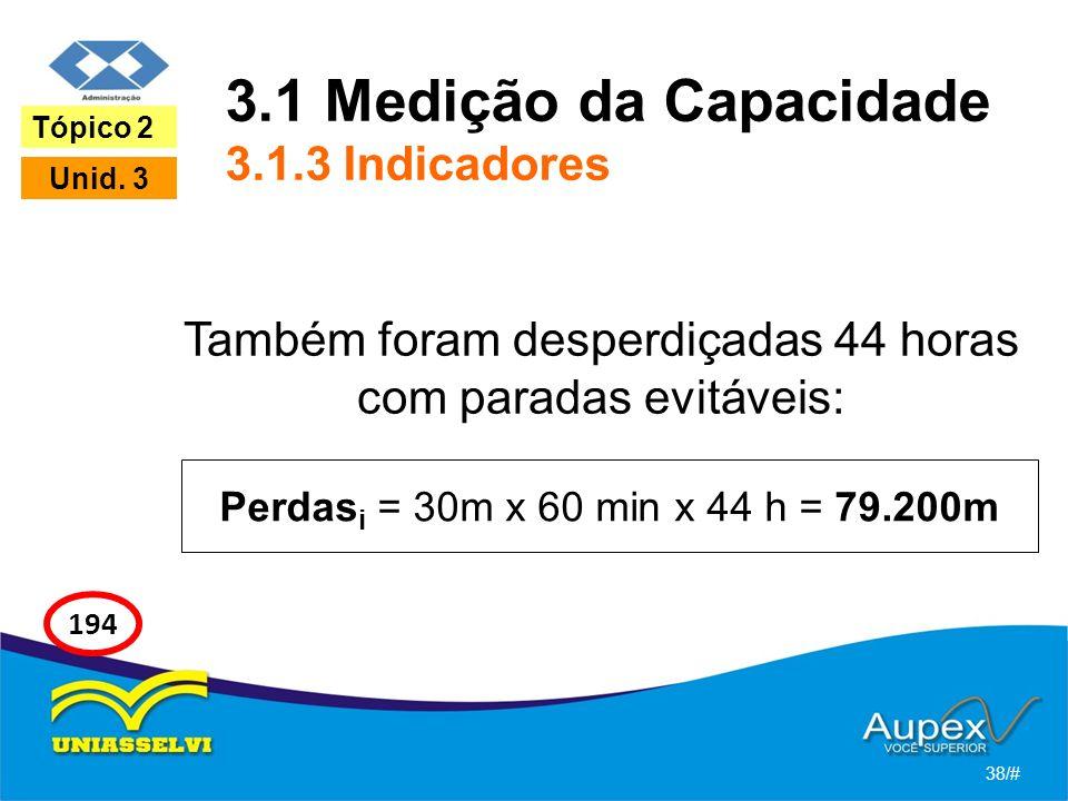 3.1 Medição da Capacidade 3.1.3 Indicadores Também foram desperdiçadas 44 horas com paradas evitáveis: 38/# Tópico 2 Unid. 3 194 Perdas i = 30m x 60 m