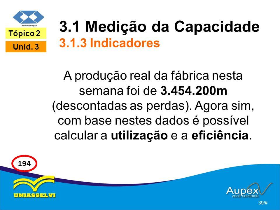 3.1 Medição da Capacidade 3.1.3 Indicadores A produção real da fábrica nesta semana foi de 3.454.200m (descontadas as perdas). Agora sim, com base nes