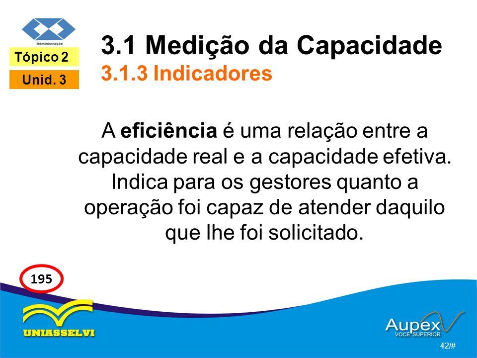 3.1 Medição da Capacidade 3.1.3 Indicadores A eficiência é uma relação entre a capacidade real e a capacidade efetiva. Indica para os gestores quanto