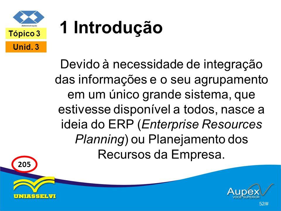 1 Introdução Devido à necessidade de integração das informações e o seu agrupamento em um único grande sistema, que estivesse disponível a todos, nasce a ideia do ERP (Enterprise Resources Planning) ou Planejamento dos Recursos da Empresa.