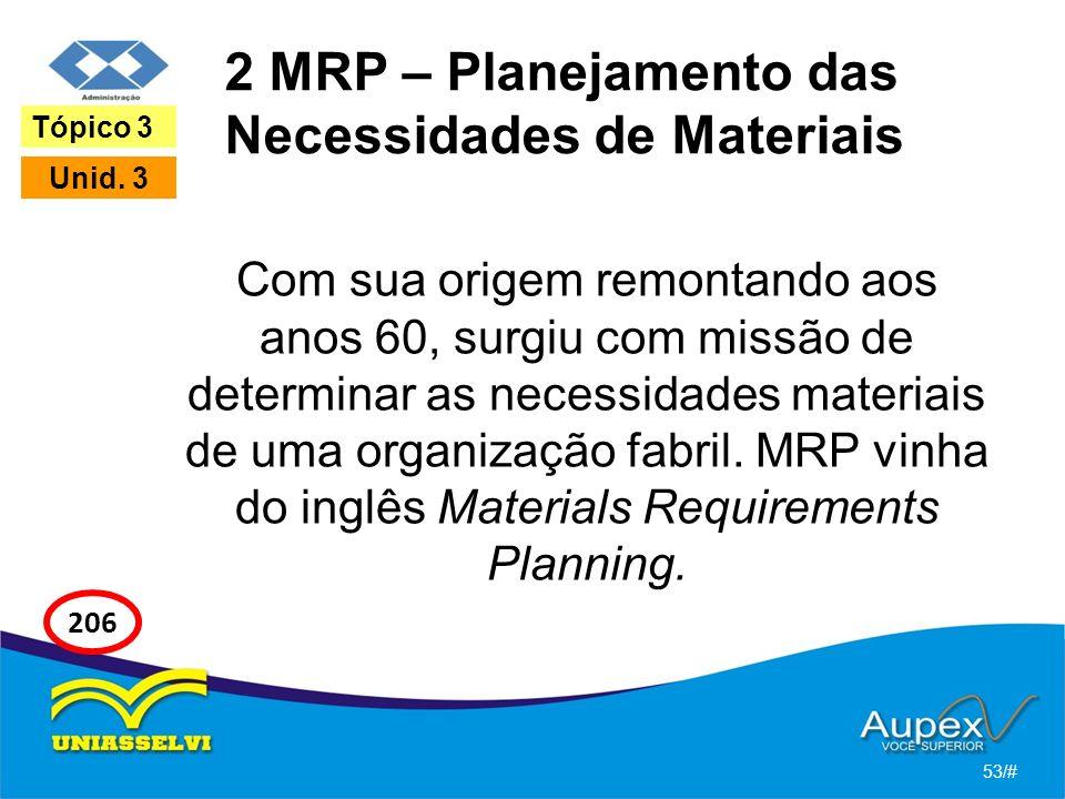 2 MRP – Planejamento das Necessidades de Materiais Com sua origem remontando aos anos 60, surgiu com missão de determinar as necessidades materiais de