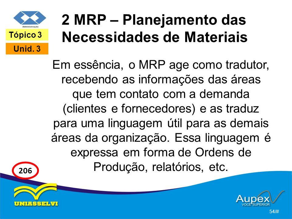 2 MRP – Planejamento das Necessidades de Materiais Em essência, o MRP age como tradutor, recebendo as informações das áreas que tem contato com a demanda (clientes e fornecedores) e as traduz para uma linguagem útil para as demais áreas da organização.