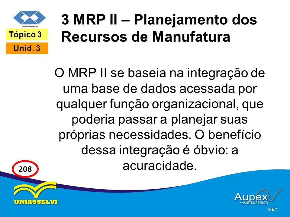 3 MRP II – Planejamento dos Recursos de Manufatura O MRP II se baseia na integração de uma base de dados acessada por qualquer função organizacional, que poderia passar a planejar suas próprias necessidades.
