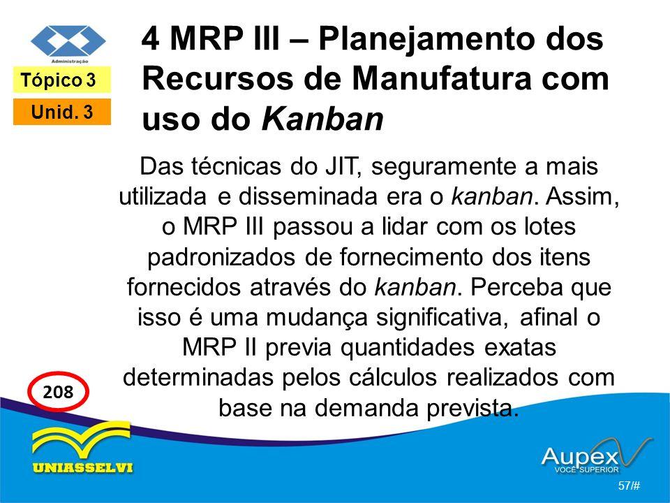4 MRP III – Planejamento dos Recursos de Manufatura com uso do Kanban Das técnicas do JIT, seguramente a mais utilizada e disseminada era o kanban. As