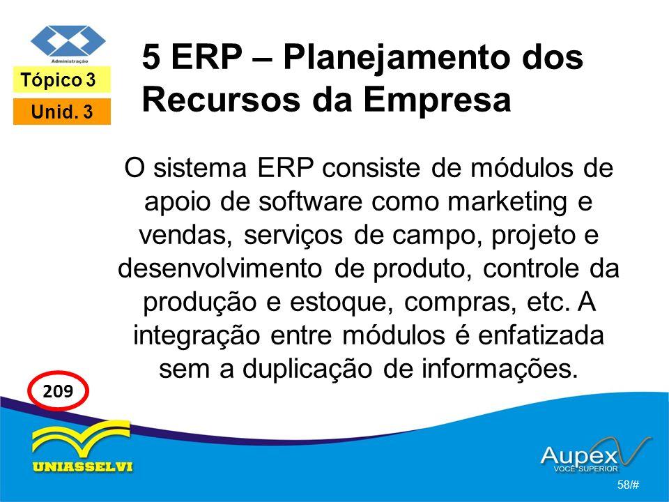 5 ERP – Planejamento dos Recursos da Empresa O sistema ERP consiste de módulos de apoio de software como marketing e vendas, serviços de campo, projeto e desenvolvimento de produto, controle da produção e estoque, compras, etc.