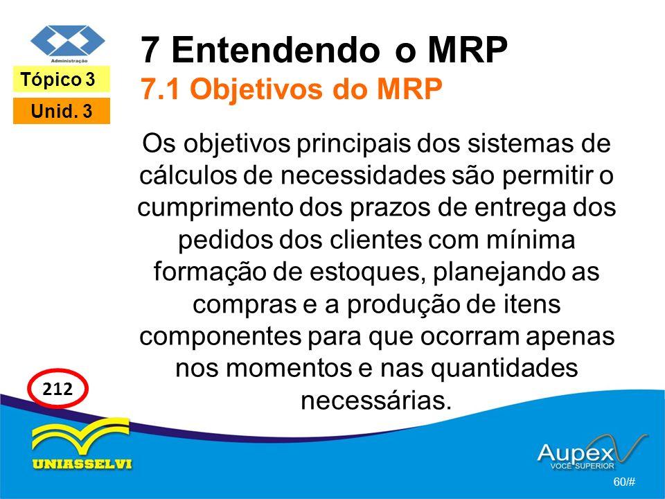 7 Entendendo o MRP 7.1 Objetivos do MRP Os objetivos principais dos sistemas de cálculos de necessidades são permitir o cumprimento dos prazos de entr
