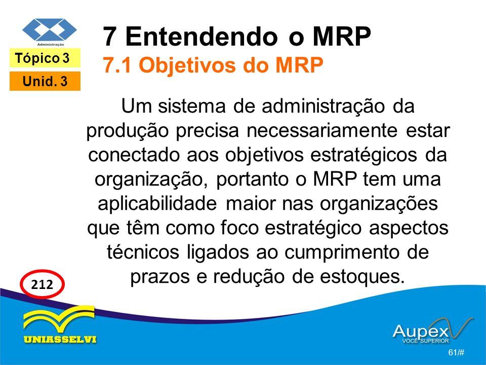 7 Entendendo o MRP 7.1 Objetivos do MRP Um sistema de administração da produção precisa necessariamente estar conectado aos objetivos estratégicos da
