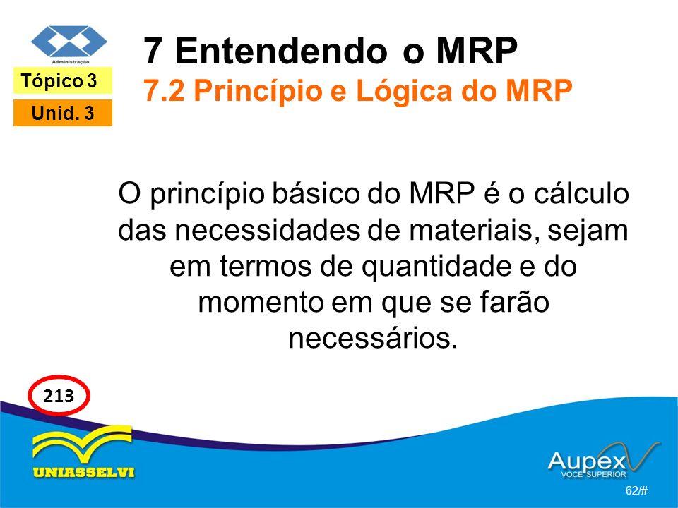 7 Entendendo o MRP 7.2 Princípio e Lógica do MRP O princípio básico do MRP é o cálculo das necessidades de materiais, sejam em termos de quantidade e do momento em que se farão necessários.