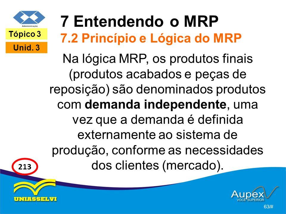 7 Entendendo o MRP 7.2 Princípio e Lógica do MRP Na lógica MRP, os produtos finais (produtos acabados e peças de reposição) são denominados produtos com demanda independente, uma vez que a demanda é definida externamente ao sistema de produção, conforme as necessidades dos clientes (mercado).