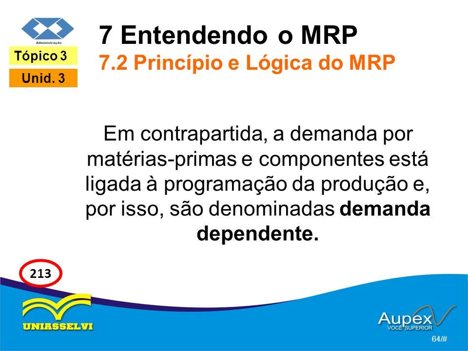 7 Entendendo o MRP 7.2 Princípio e Lógica do MRP Em contrapartida, a demanda por matérias-primas e componentes está ligada à programação da produção e, por isso, são denominadas demanda dependente.