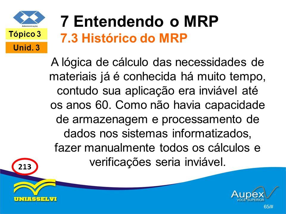 7 Entendendo o MRP 7.3 Histórico do MRP A lógica de cálculo das necessidades de materiais já é conhecida há muito tempo, contudo sua aplicação era inviável até os anos 60.