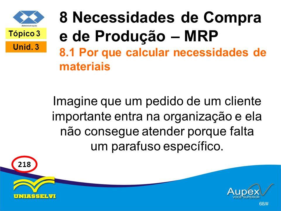8 Necessidades de Compra e de Produção – MRP 8.1 Por que calcular necessidades de materiais Imagine que um pedido de um cliente importante entra na organização e ela não consegue atender porque falta um parafuso específico.