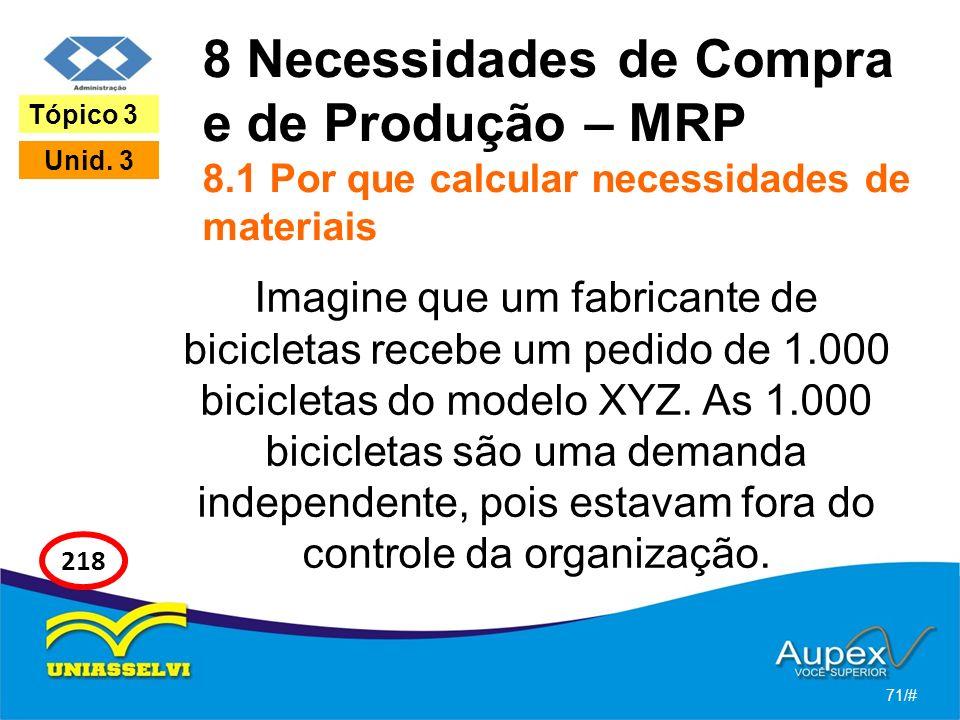 8 Necessidades de Compra e de Produção – MRP 8.1 Por que calcular necessidades de materiais Imagine que um fabricante de bicicletas recebe um pedido d